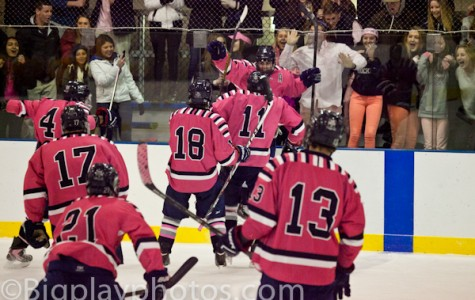 "Boys varsity hockey ""Pinks the Rink"" and beats T-P"