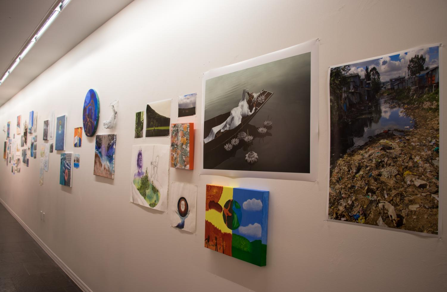 Works by teachers and students hang in the Walkway Gallery