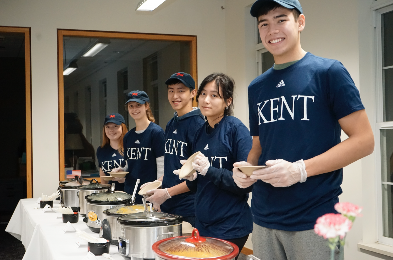 REACH members help serve soup